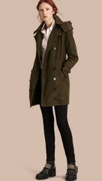 Taffeta Trench Coat with Detachable Hood