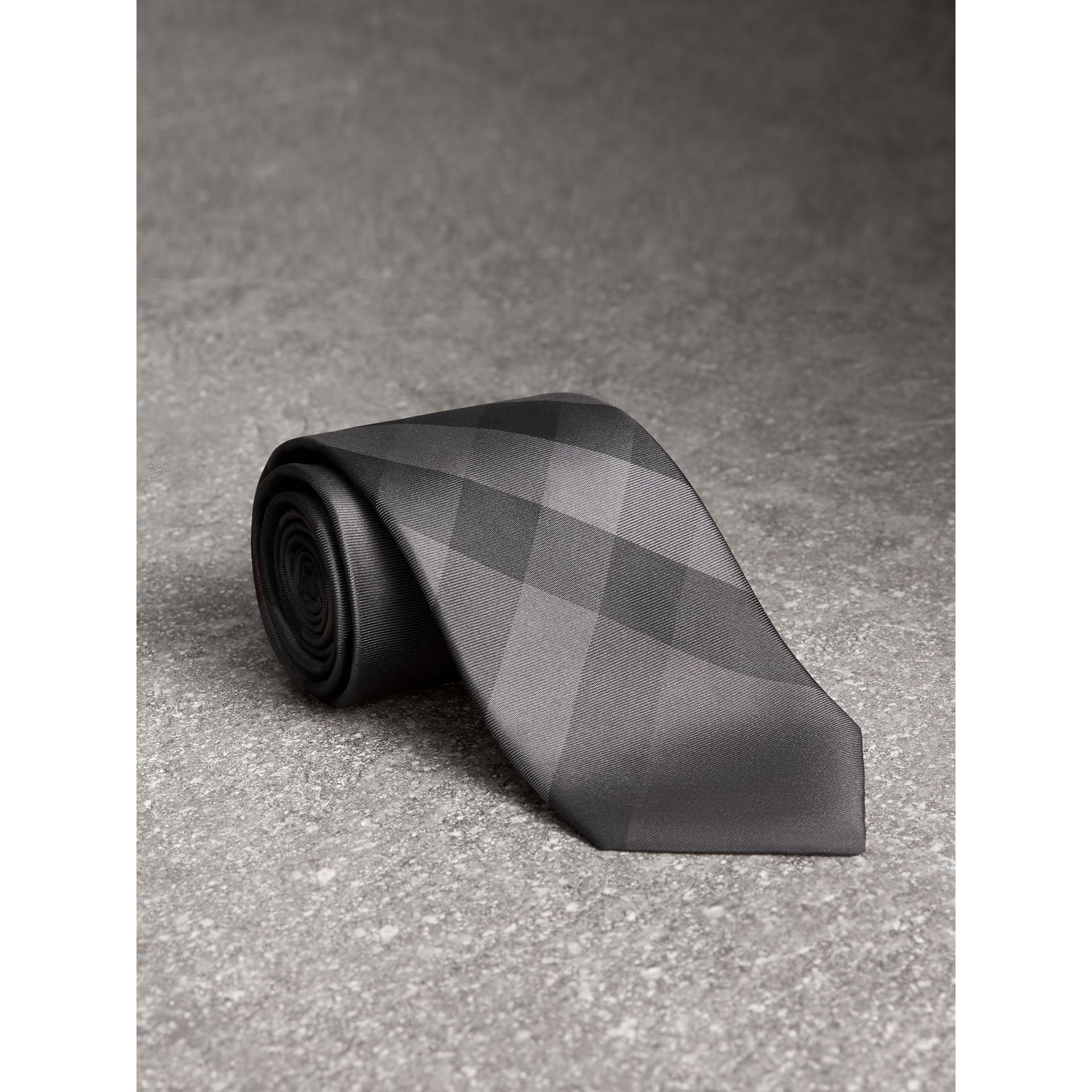 Modern Cut Check Silk Tie in Charcoal - Men | Burberry United States - gallery image 1