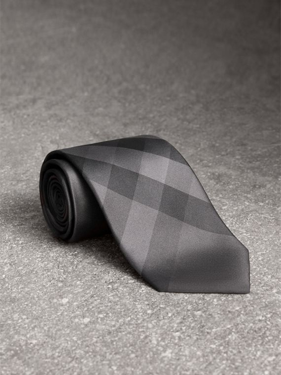 Modern Cut Check Silk Tie in Charcoal