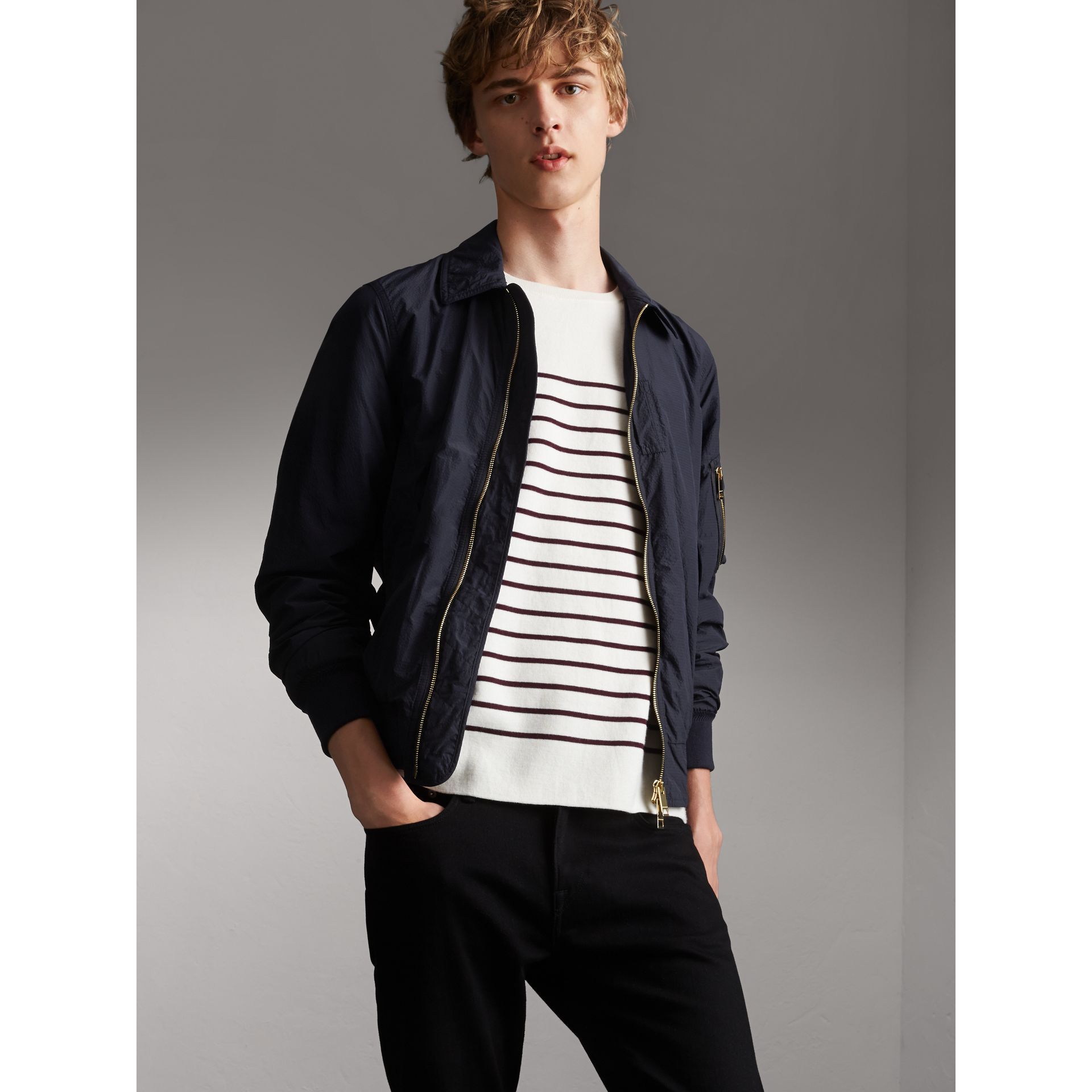 Seersucker Bomber Jacket - Men | Burberry Australia - gallery image 1