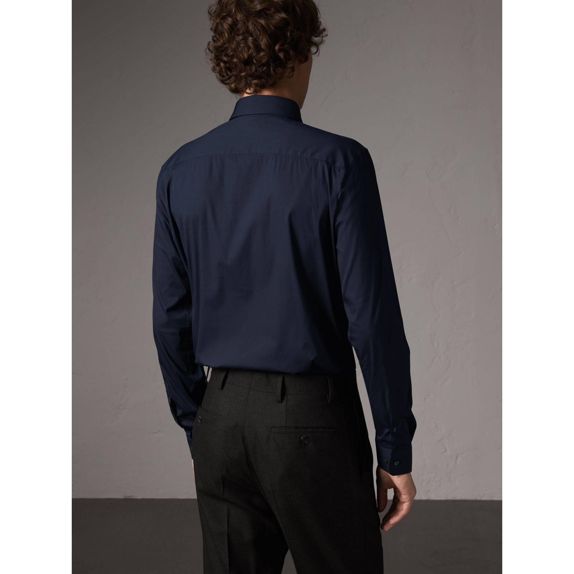 Slim Fit Stretch Cotton Shirt in Navy - Men | Burberry - gallery image 3