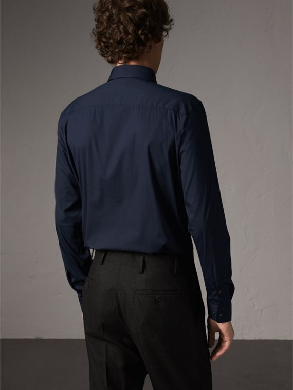 Slim Fit Stretch Cotton Shirt in Navy - Men | Burberry United States - cell image 3