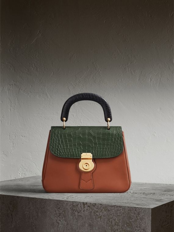 The Medium DK88 Top Handle Bag with Alligator in Tan/dark Forest Green