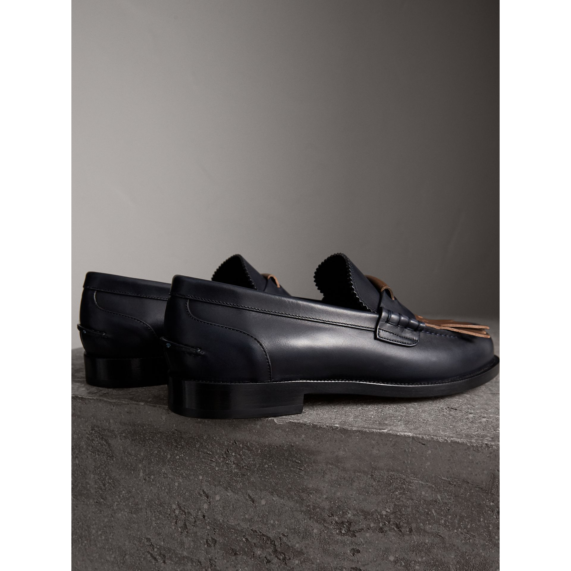 Contrast Kiltie Fringe Leather Loafers in Navy/dark Tan - Men | Burberry - gallery image 3