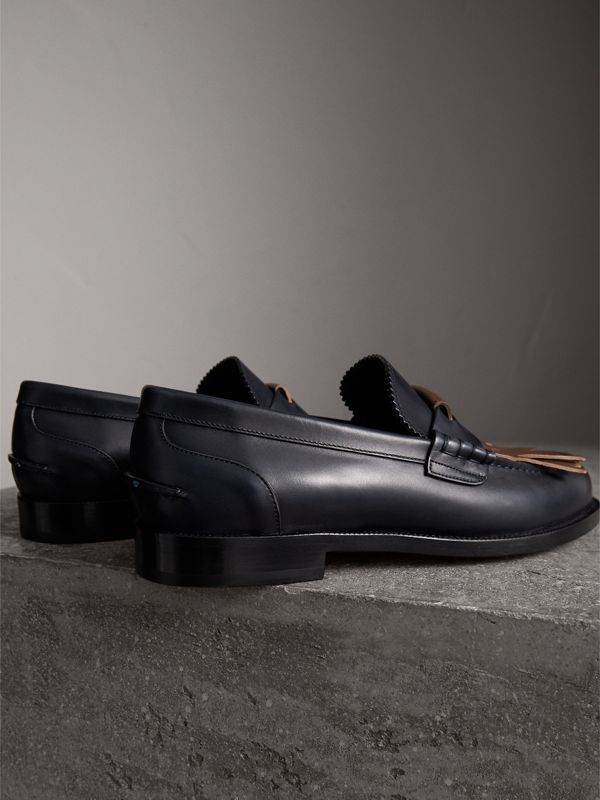 Contrast Kiltie Fringe Leather Loafers in Navy/dark Tan - Men | Burberry - cell image 3
