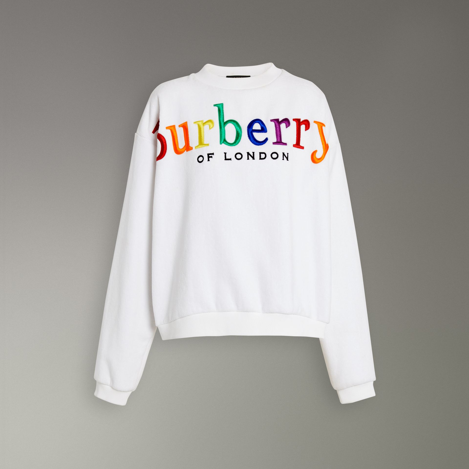 Archive Logo Towelling Sweatshirt in White - Women | Burberry - gallery image 3