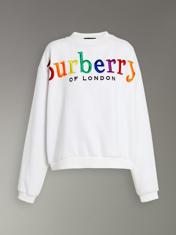 Archive Logo Towelling Sweatshirt in White - Women | Burberry Canada - cell image 3