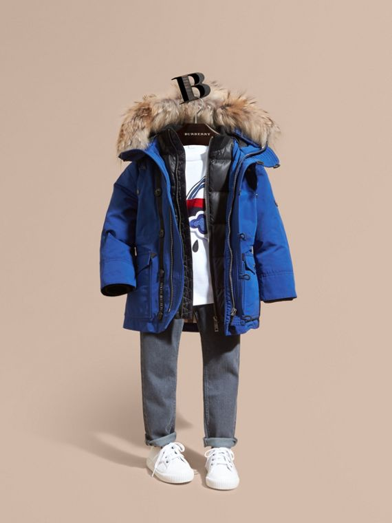 Fur-Trimmed Down-Filled Hooded Puffer Coat Bright Cobalt