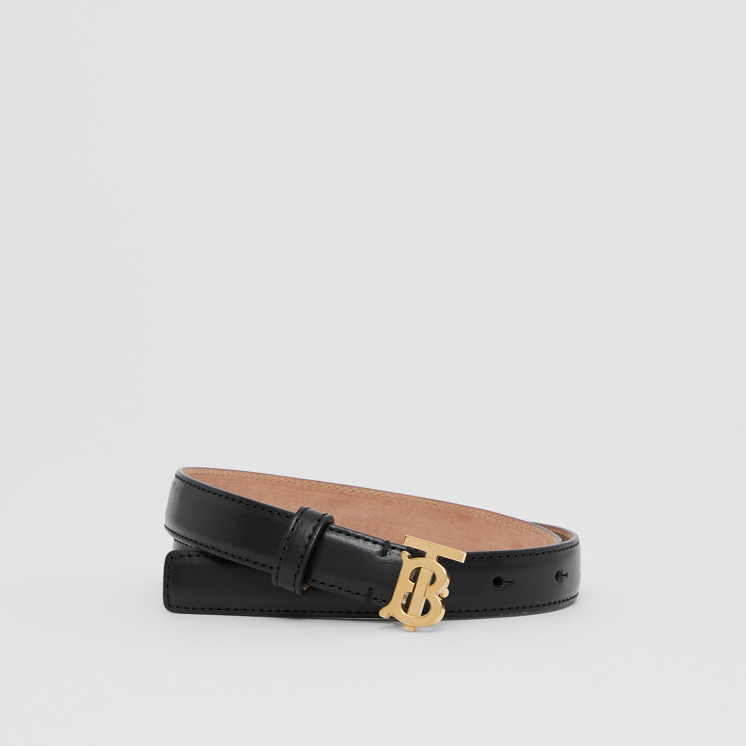 Monogram Motif Leather Belt in Black/light Gold - Women | Burberry - 1