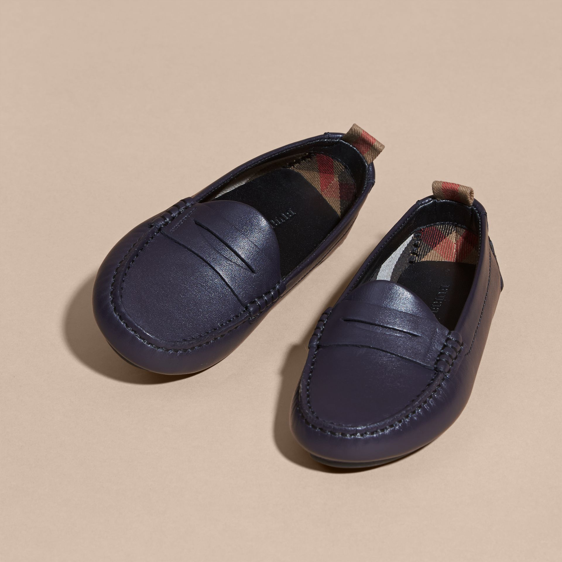 Navy Leather Loafers - gallery image 3