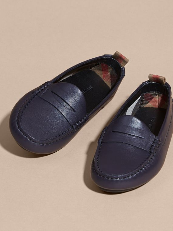 Navy Leather Loafers - cell image 2