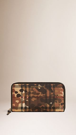 Horseferry Check and Camouflage Ziparound Wallet