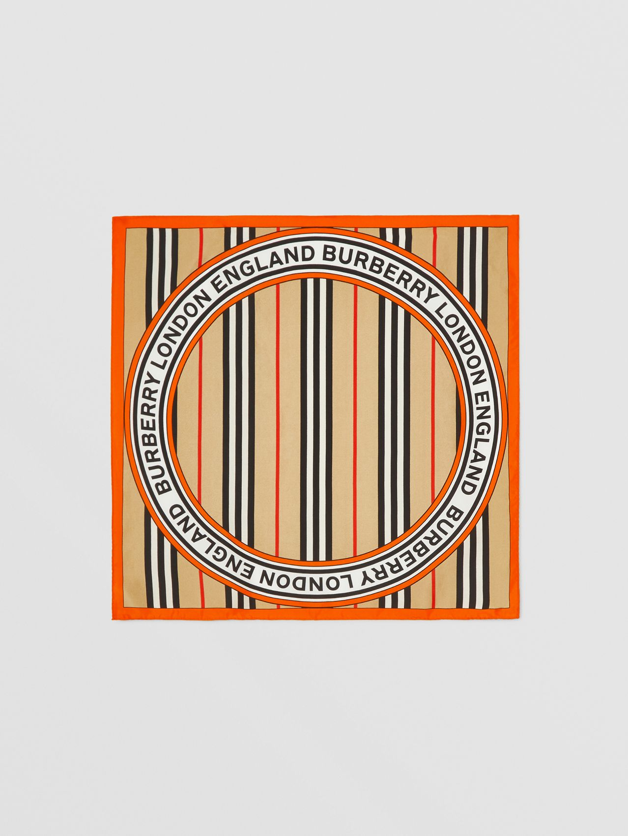 Icon Stripe and Logo Graphic Silk Small Square Scarf