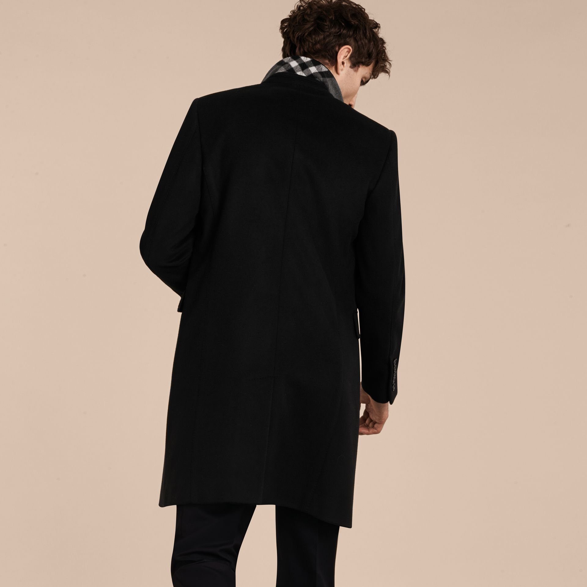Black Velvet Collar Wool Cashmere Coat - gallery image 3
