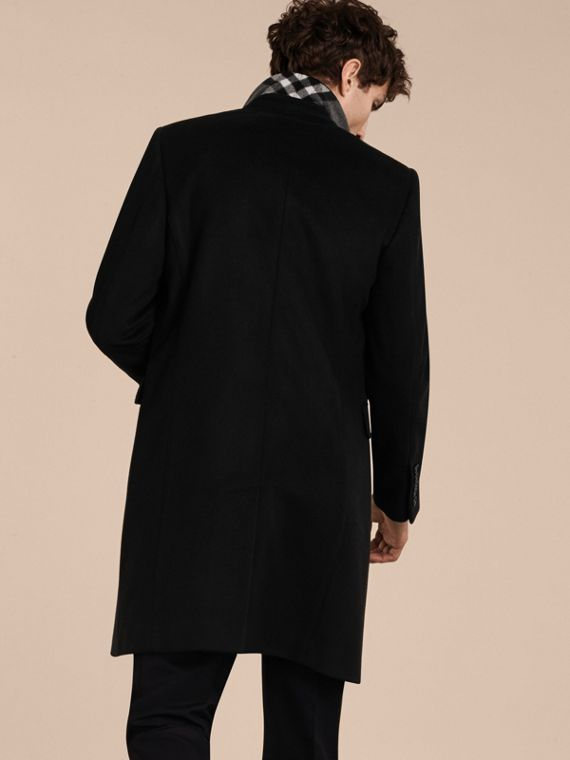 Black Velvet Collar Wool Cashmere Coat - cell image 2