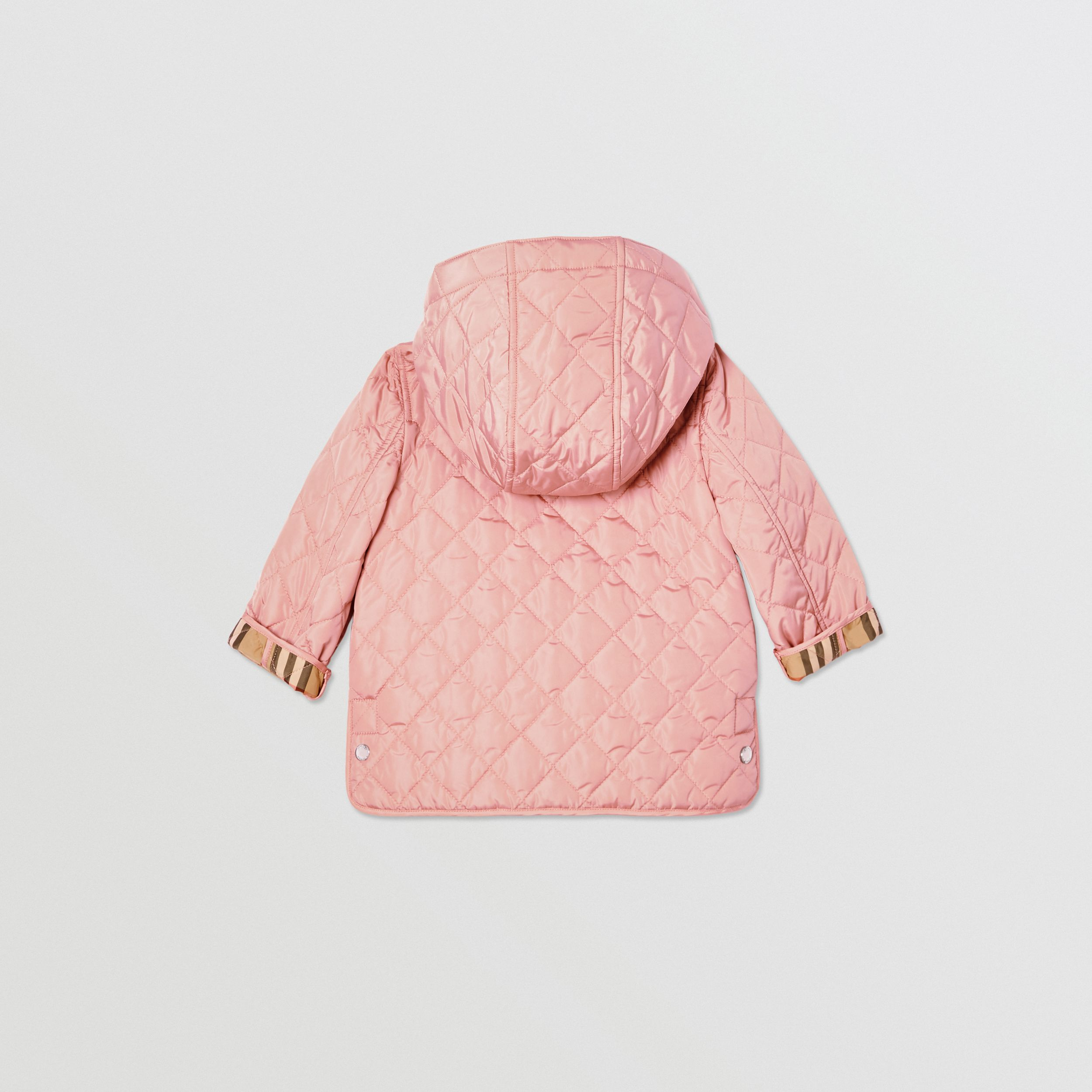 Detachable Hood Diamond Quilted Jacket in Dusty Pink - Children | Burberry - 4