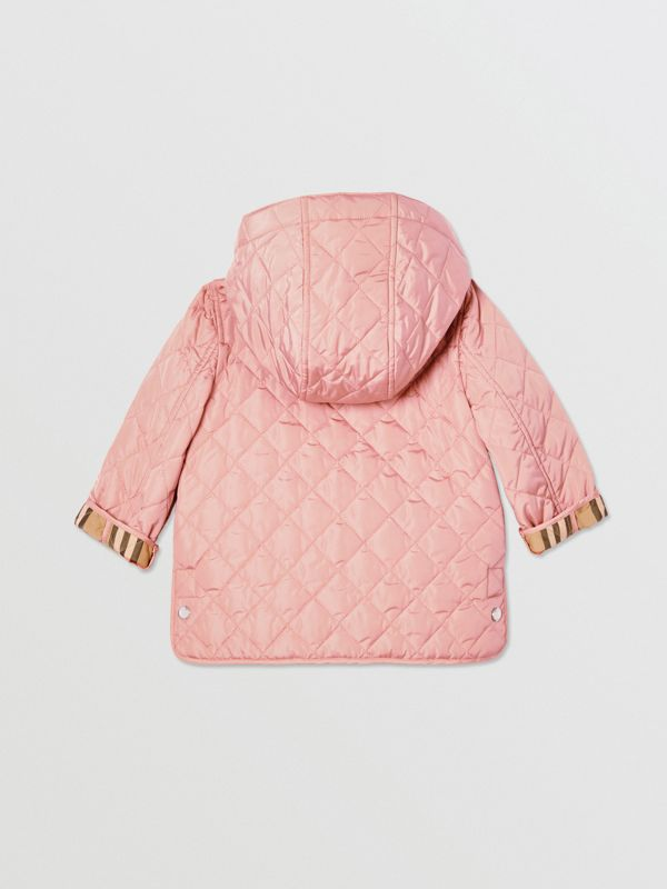 Detachable Hood Diamond Quilted Jacket in Dusty Pink - Children   Burberry - cell image 3