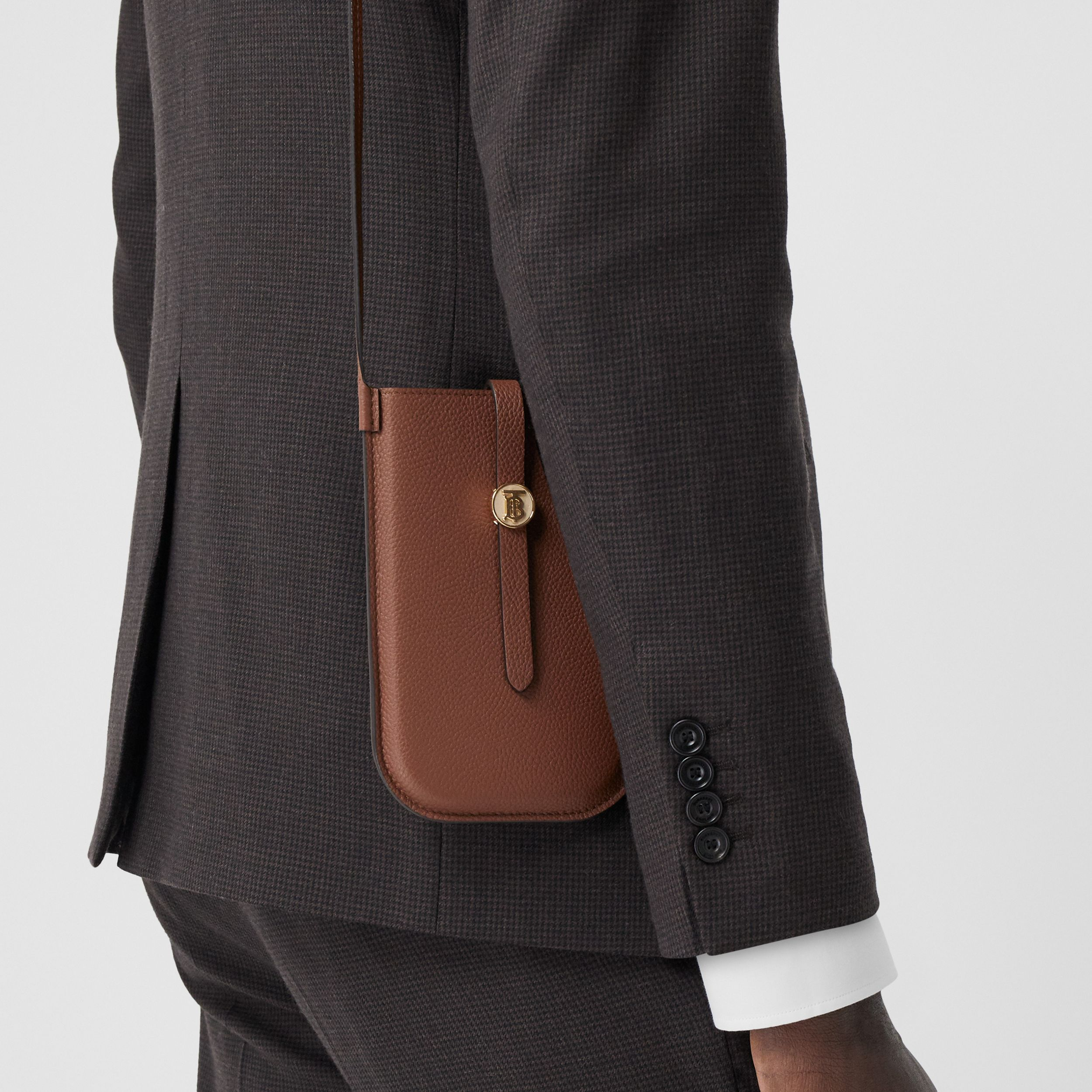 Leather Phone Case with Strap in Tan | Burberry - 4