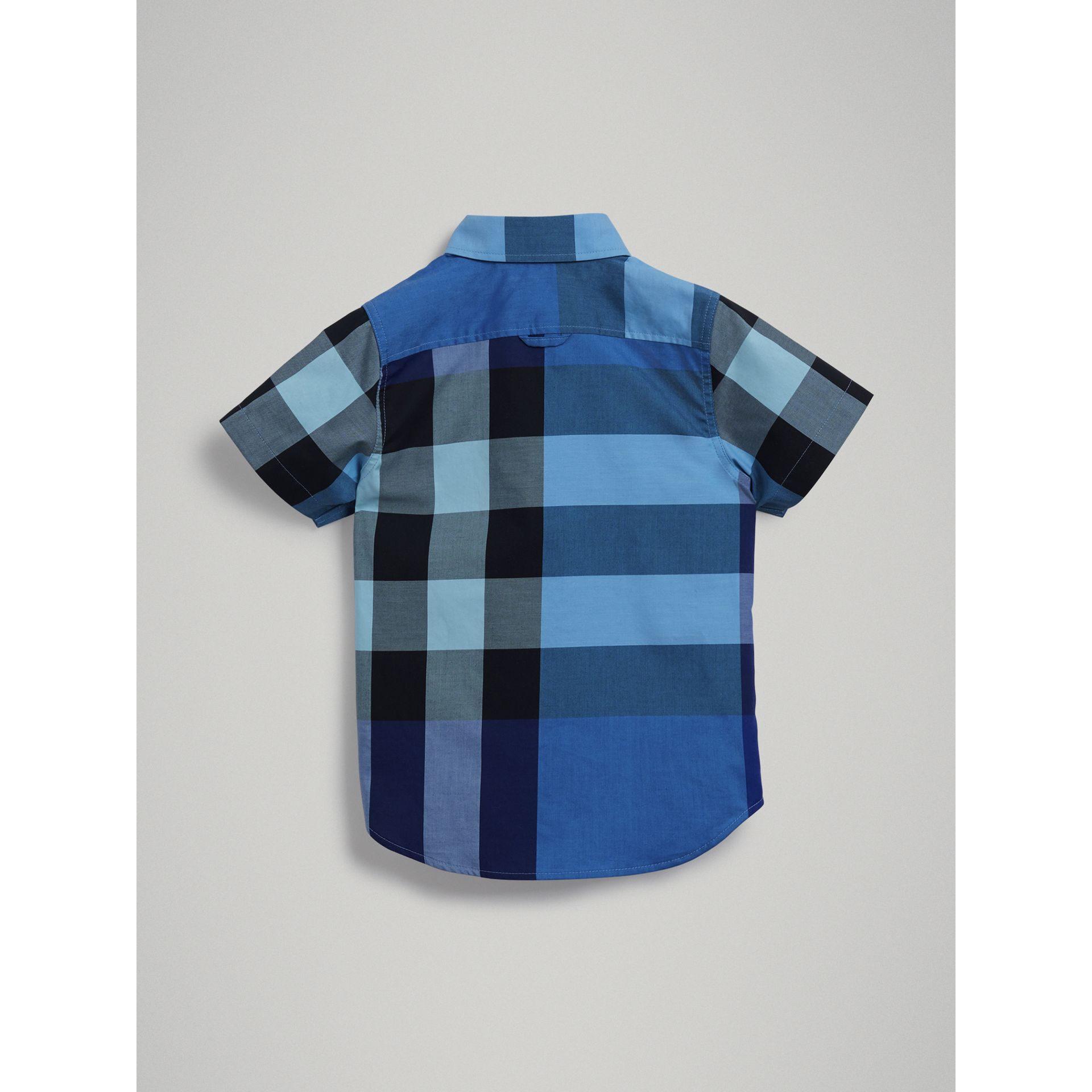Short-sleeve Check Cotton Shirt in Light Azure | Burberry - gallery image 3