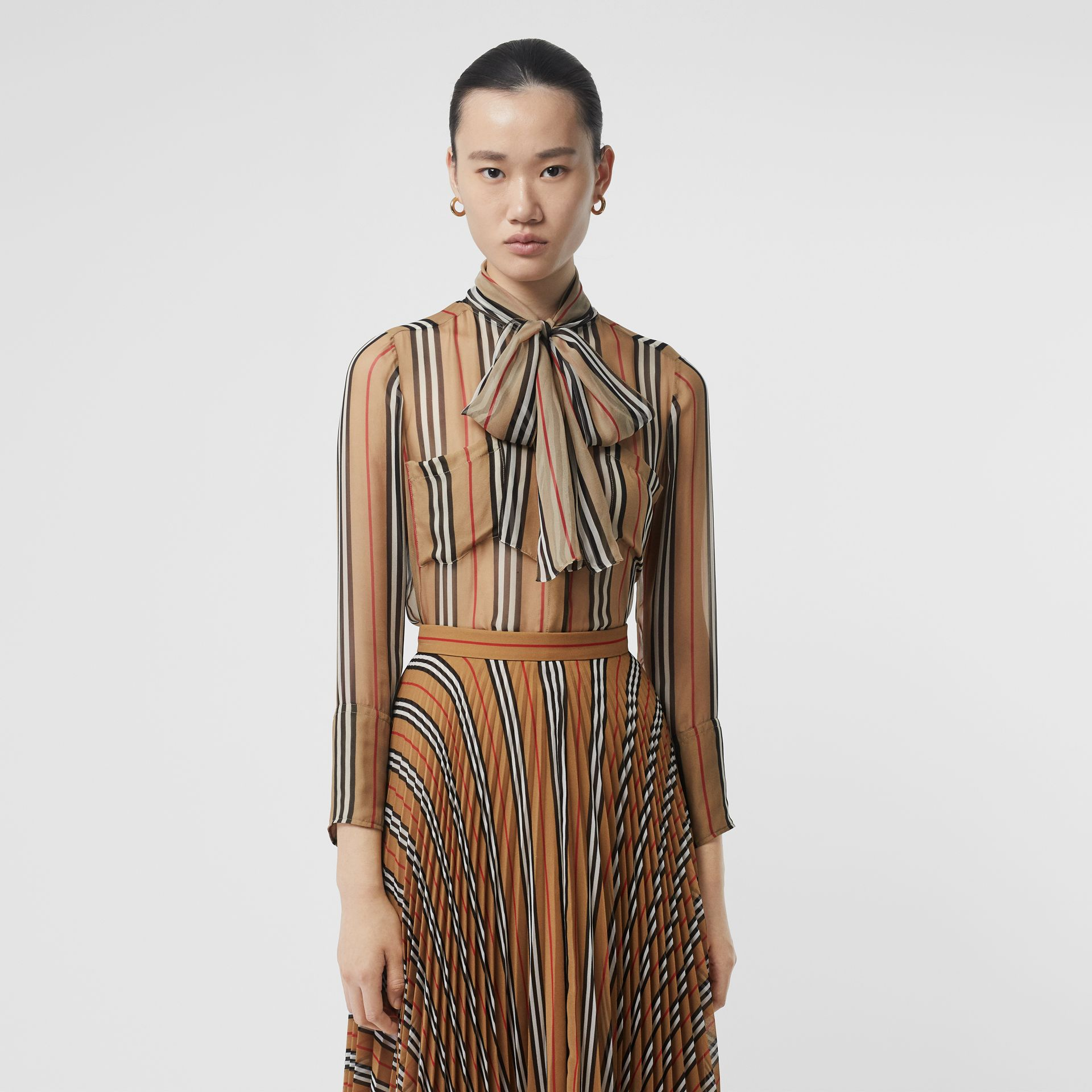 Heritage Stripe Silk Pussy-bow Blouse in Antique Yellow - Women | Burberry - gallery image 0