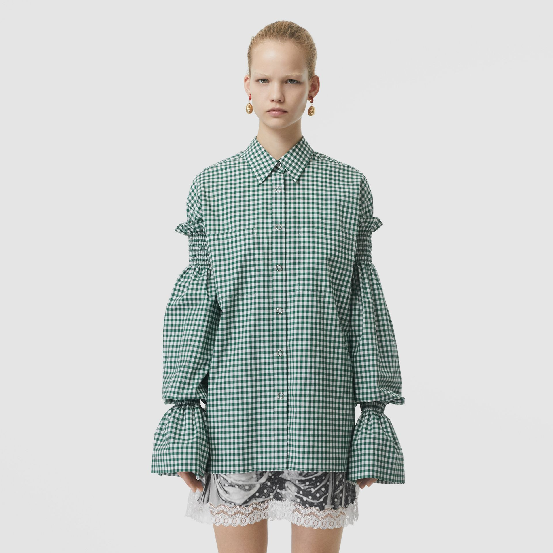 Gathered Sleeve Gingham Cotton Shirt in White/green - Women | Burberry - gallery image 5