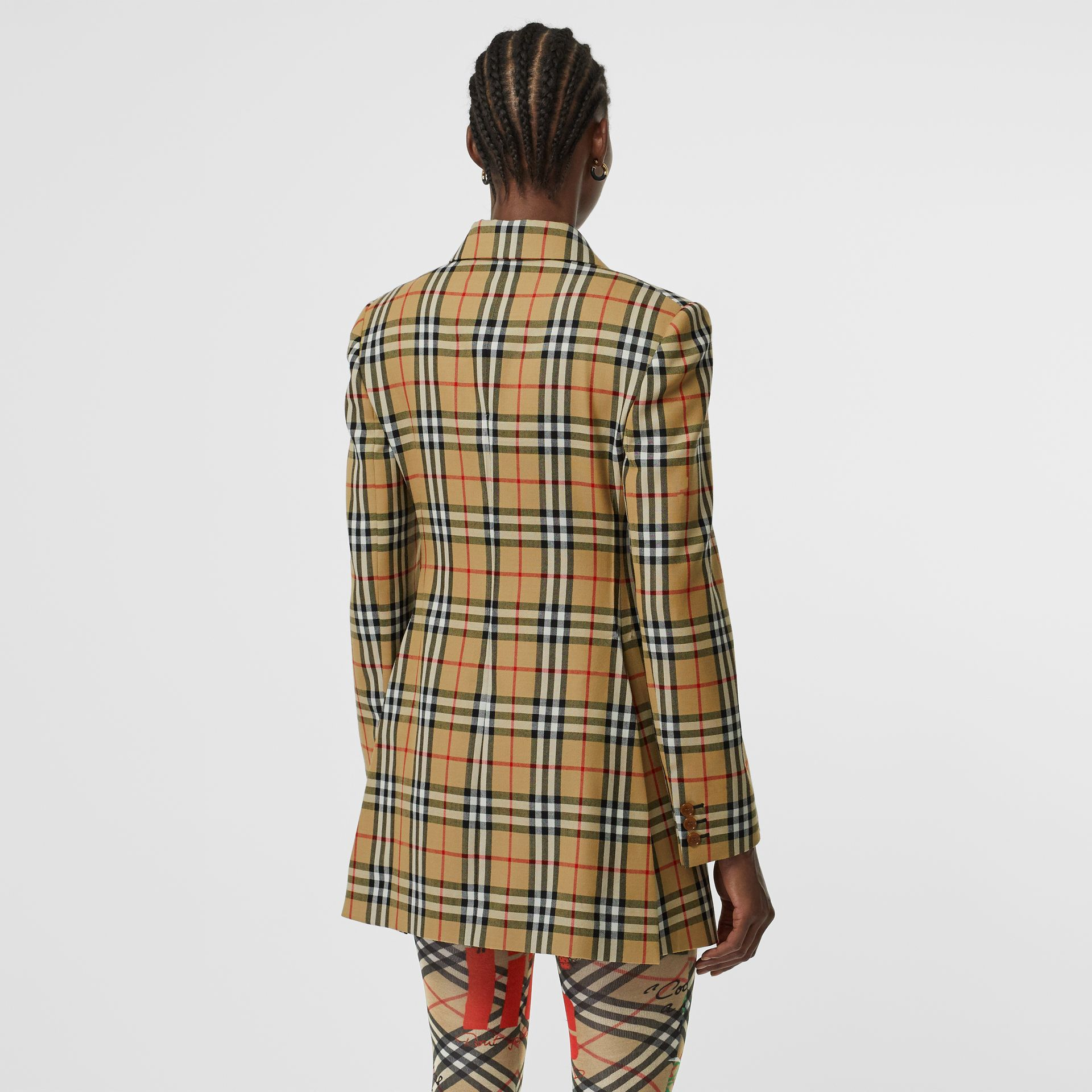 Vintage Check Wool Double-breasted Jacket in Antique Yellow - Women | Burberry - gallery image 2