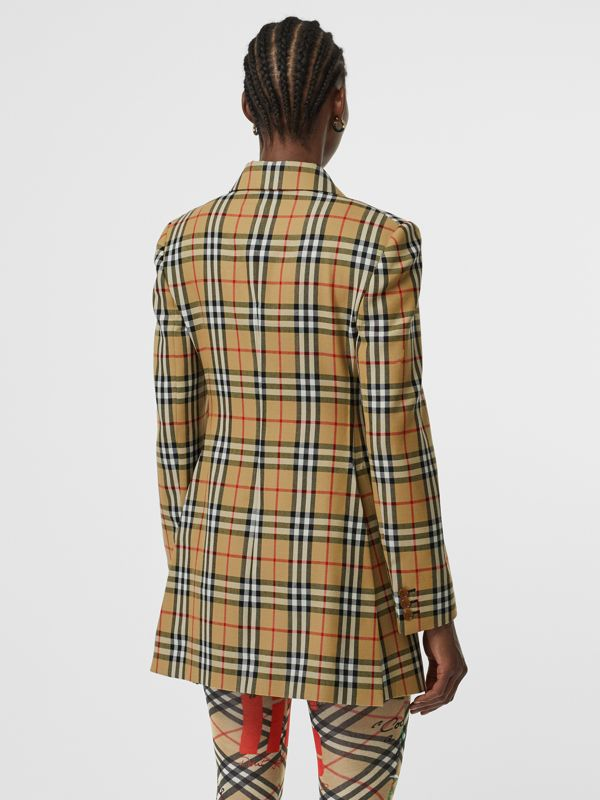 Vintage Check Wool Double-breasted Jacket in Antique Yellow - Women | Burberry Hong Kong - cell image 2