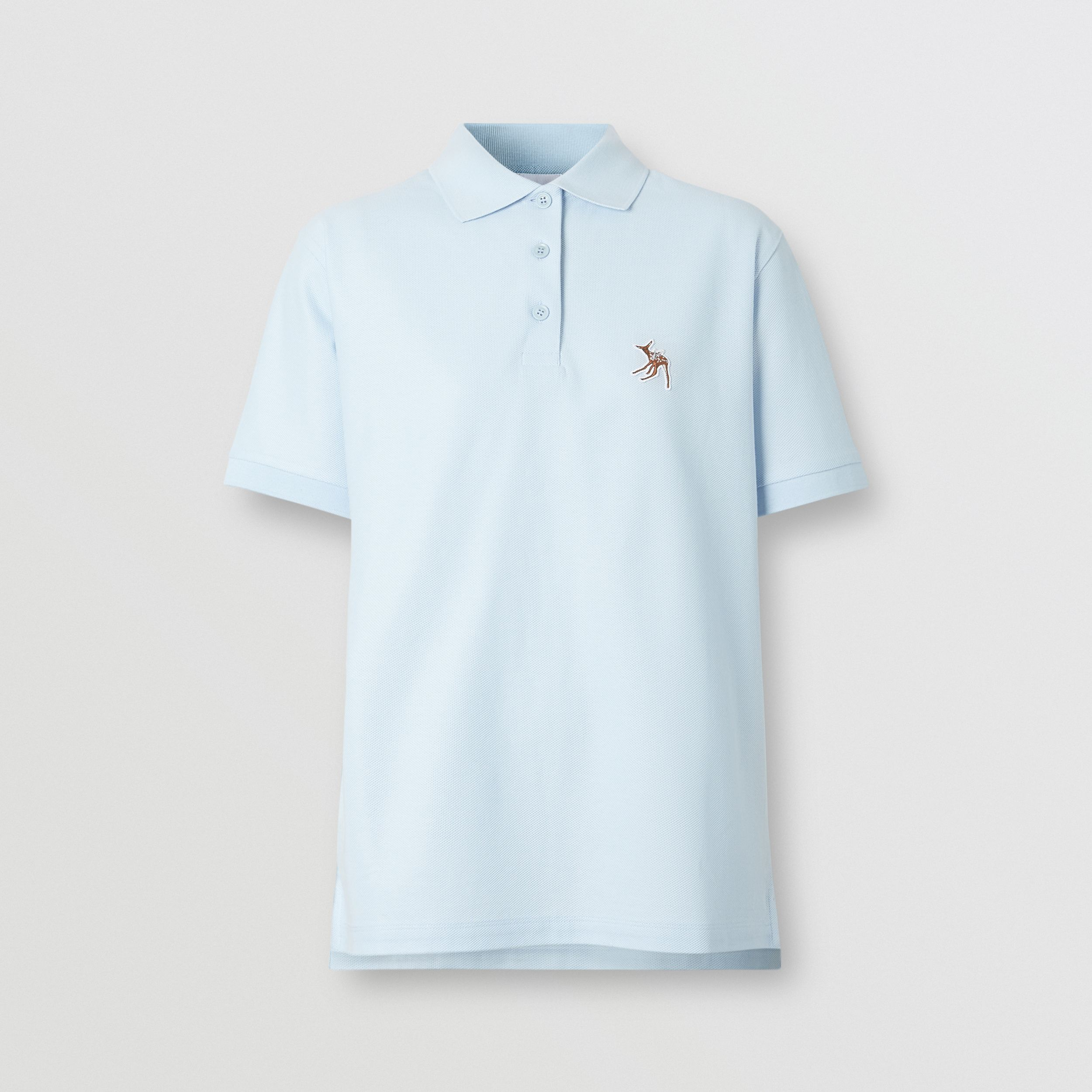 Deer Motif Cotton Piqué Oversized Polo Shirt in Pale Blue - Women | Burberry - 4