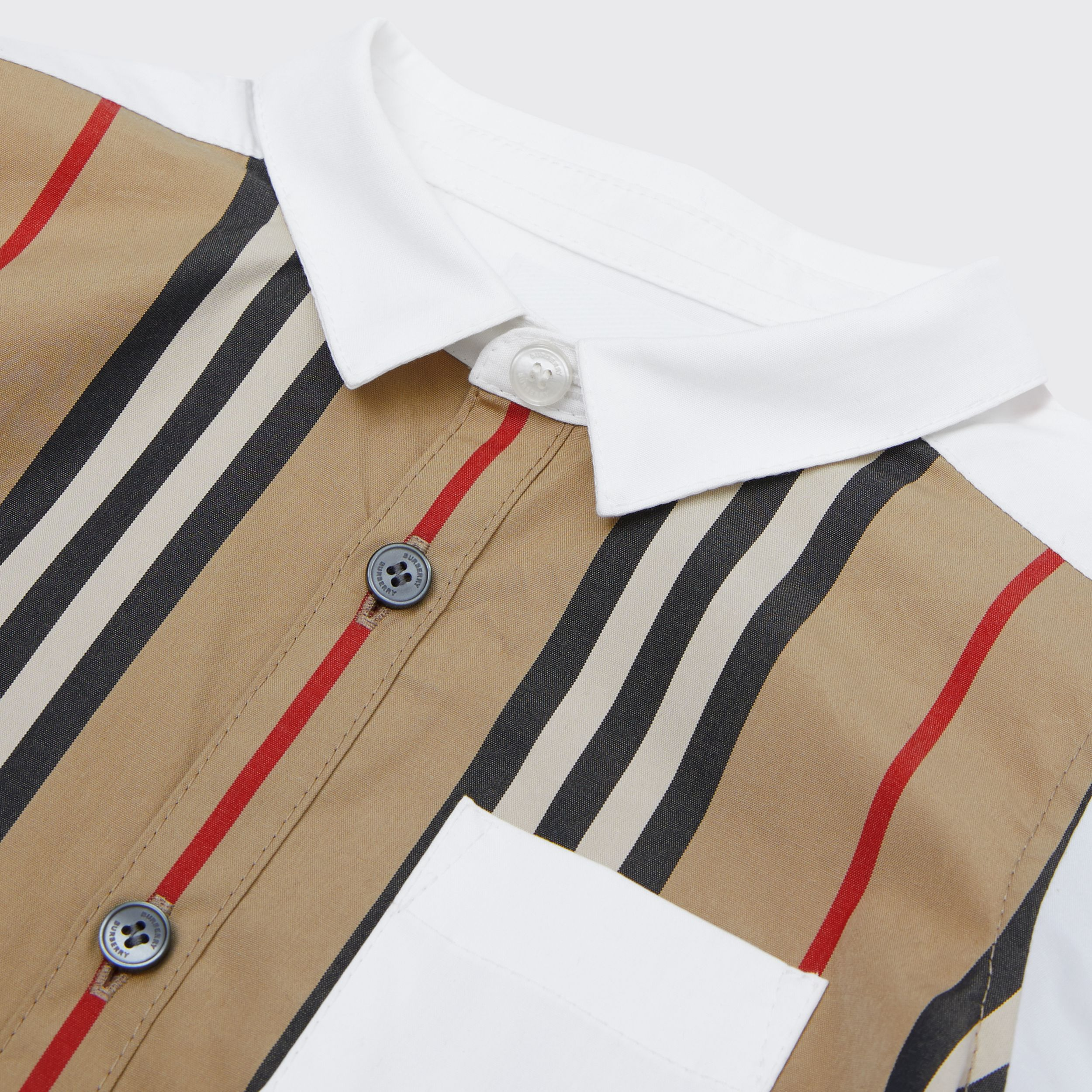 Icon Stripe Panel Stretch Cotton Shirt in White - Children | Burberry - 2