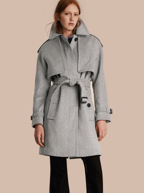 Wool Cashmere Trench Coat with Oversize Detailing