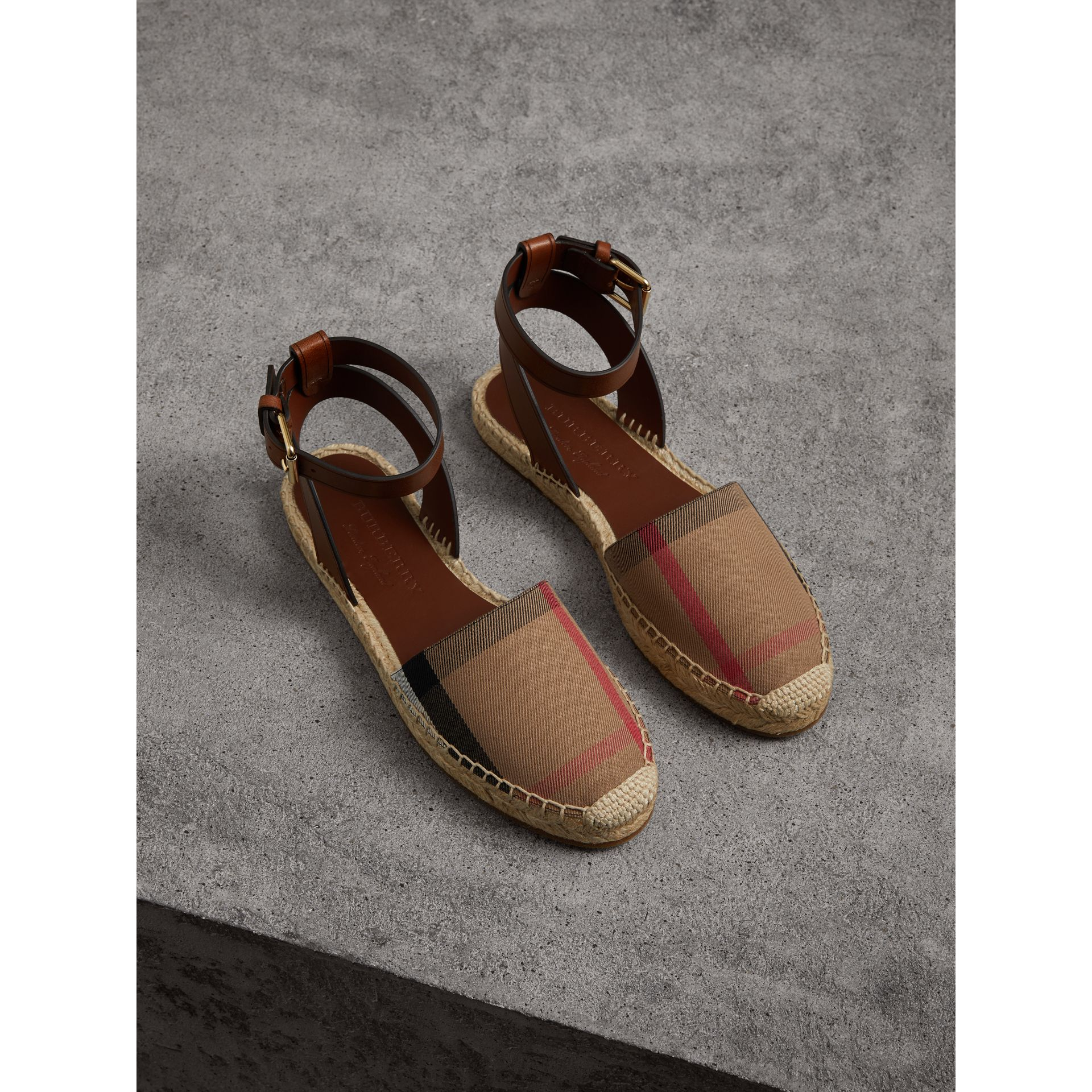 Leather and House Check Espadrille Sandals in Dark Tan - Women | Burberry - gallery image 1