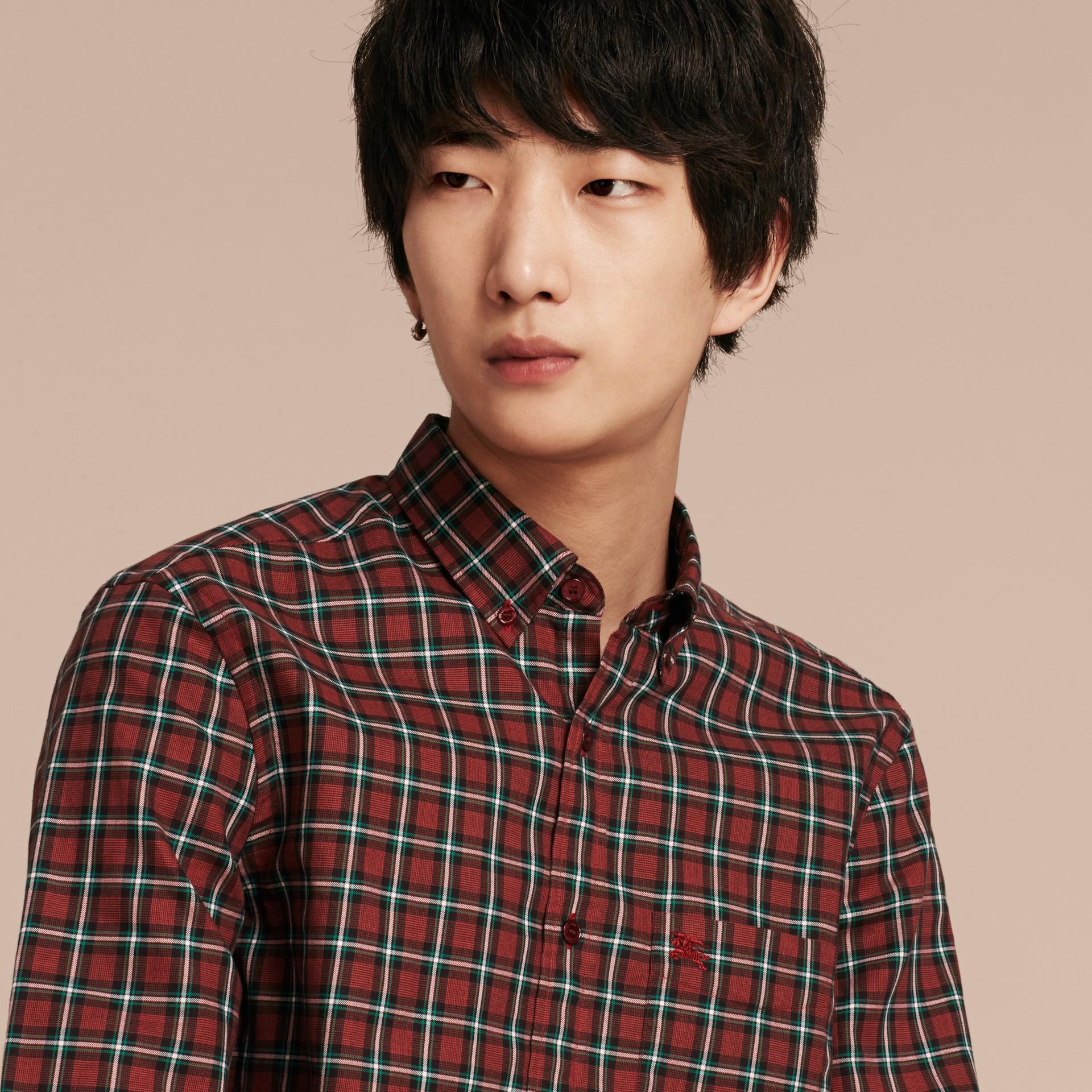 Vermelho Camisa de sarja de algodão com estampa xadrez tartã Vermelho - galeria de imagens 5