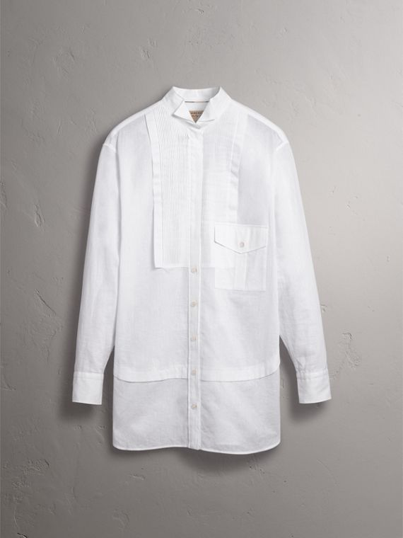 Pintuck Bib Wing Collar Longline Linen Cotton Shirt in White - Women | Burberry - cell image 3