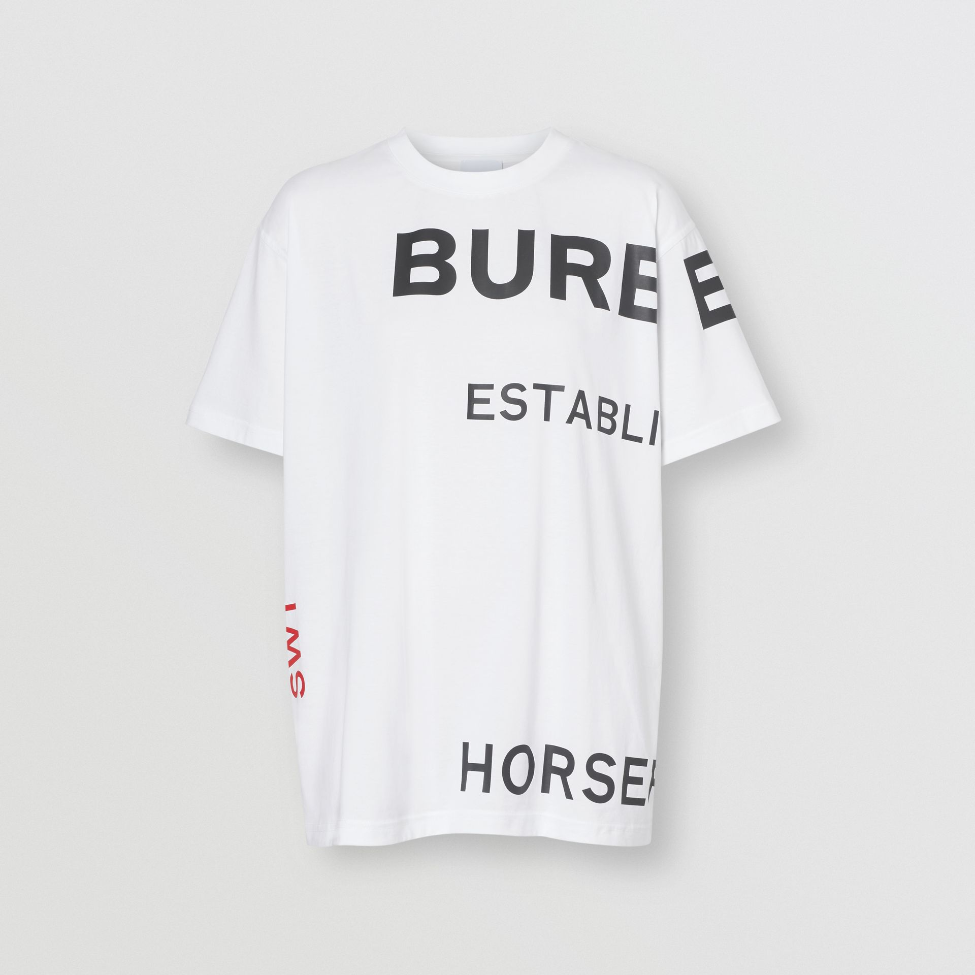 Horseferry Print Cotton Oversized T-shirt in White | Burberry - gallery image 3