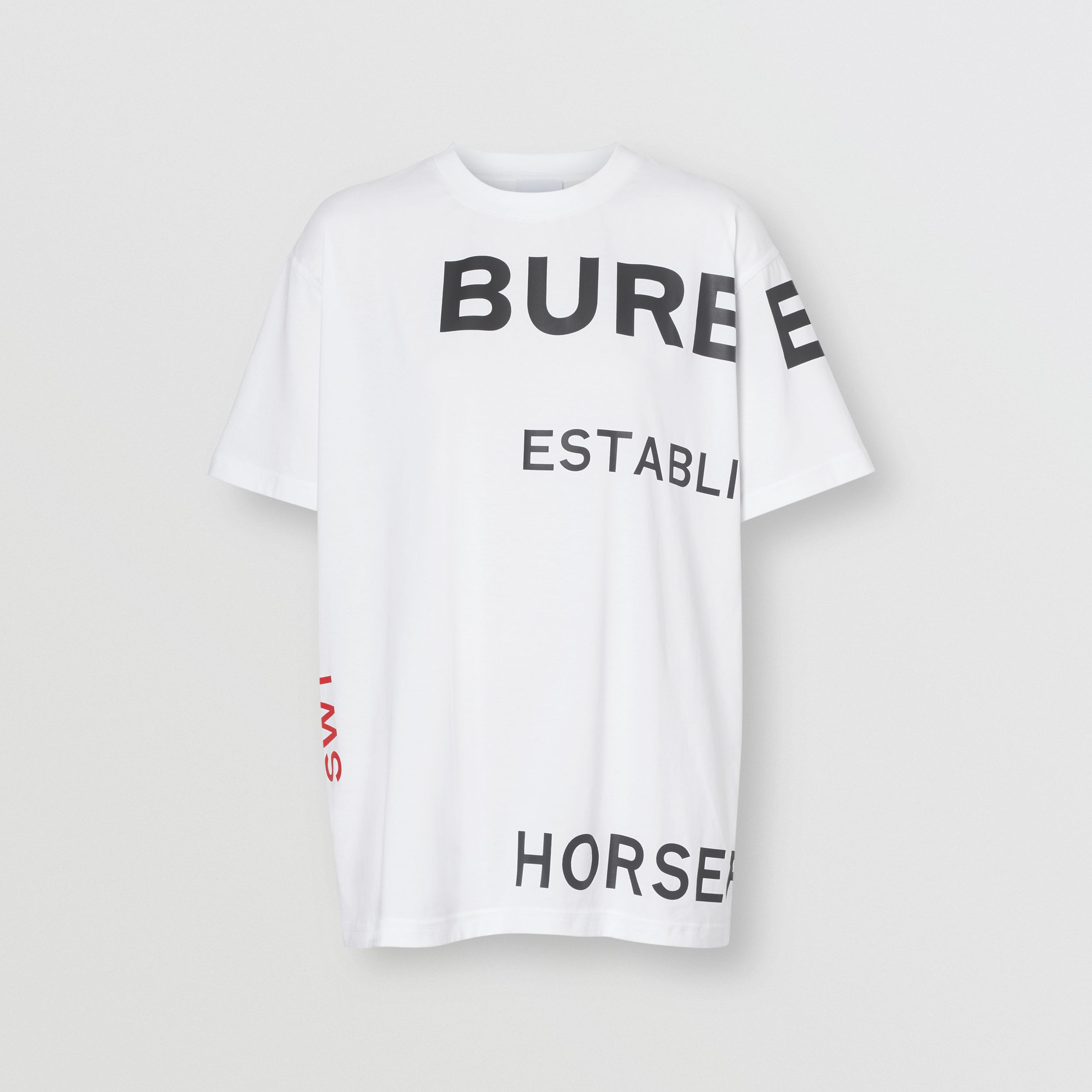 Horseferry Print Cotton Oversized T-shirt in White - Women | Burberry Australia - 4