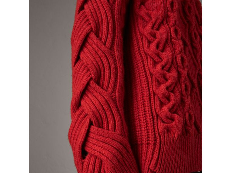 Aran Knit Cashmere Wool Sweater in Military Red - Men | Burberry - cell image 1