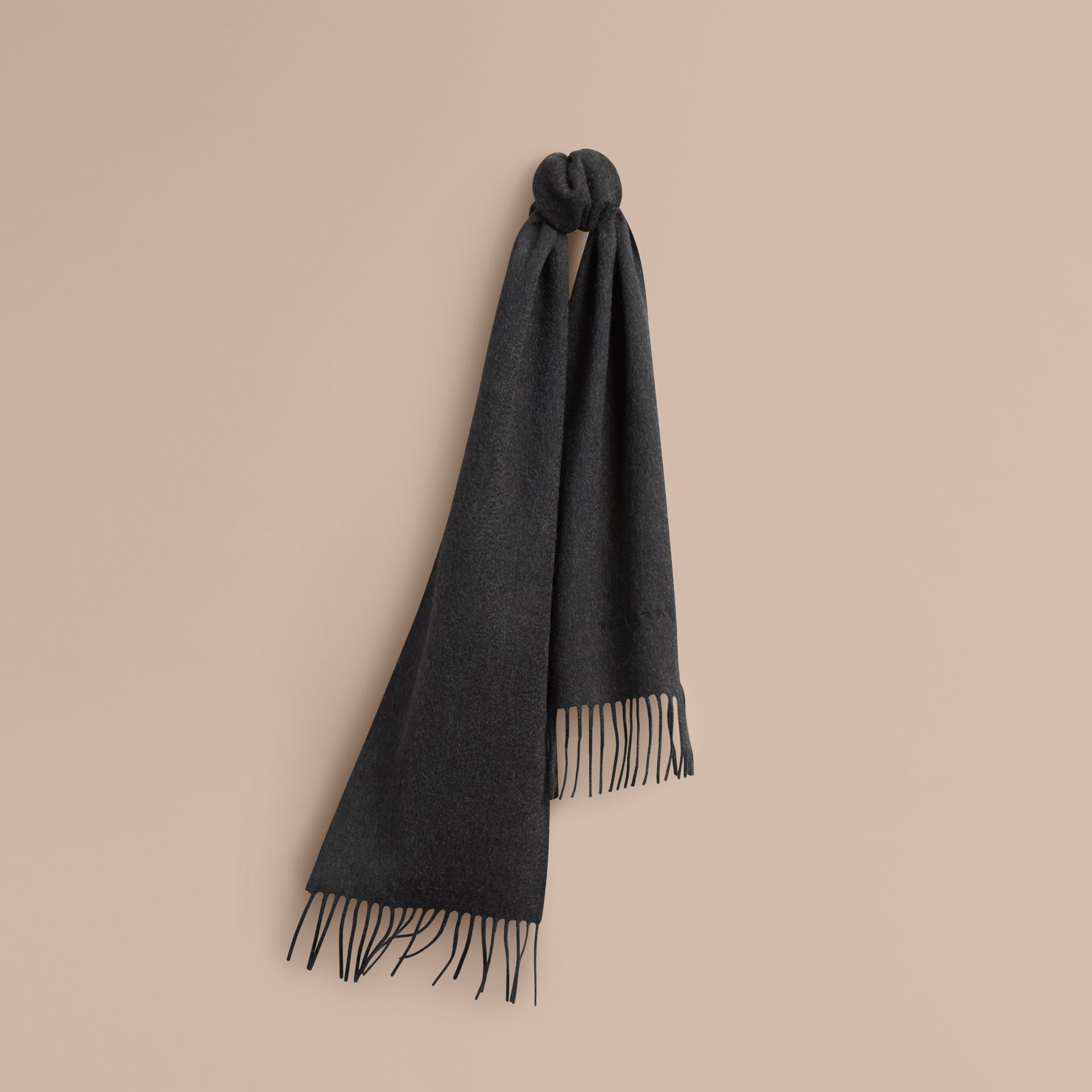 The Mini Classic Cashmere Scarf in Charcoal | Burberry - gallery image 5