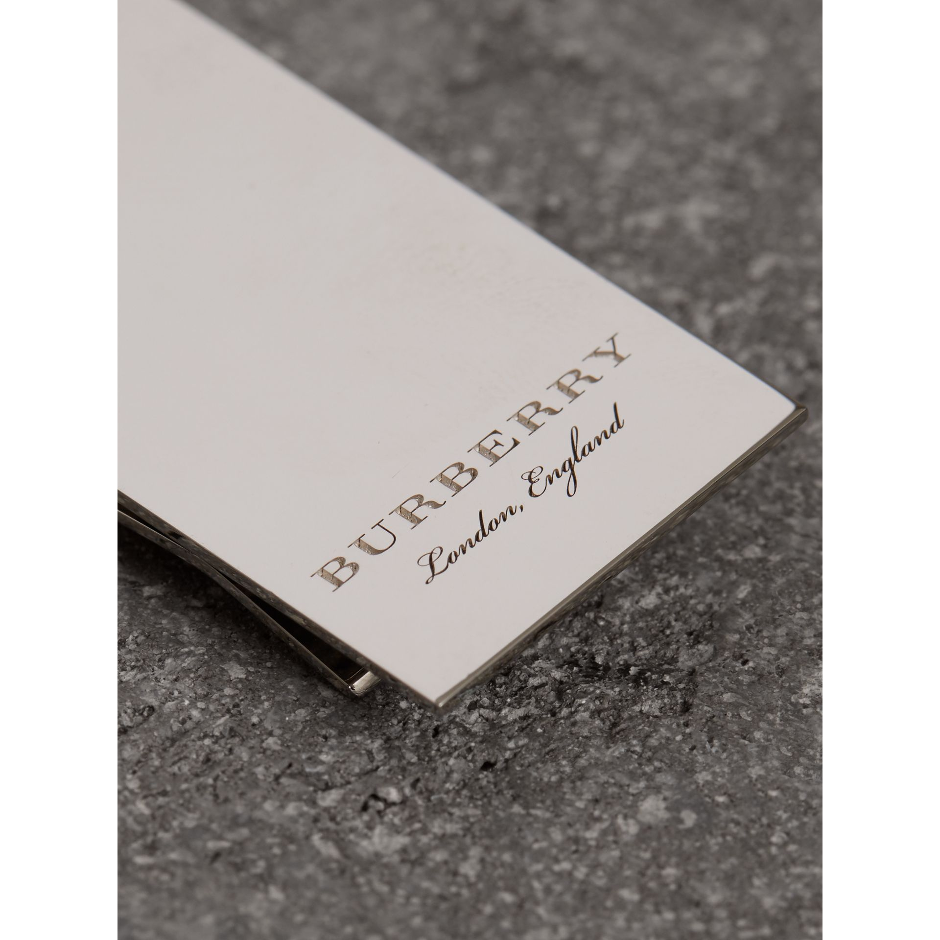 Engraved Brass Money Clip in Shiny Nickel - Men | Burberry Australia - gallery image 1