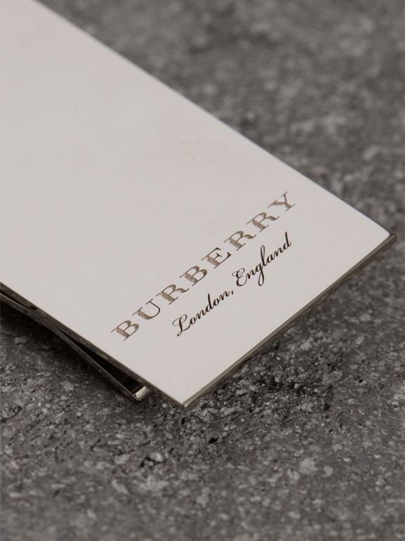 Engraved Brass Money Clip in Shiny Nickel - Men | Burberry United States - cell image 1