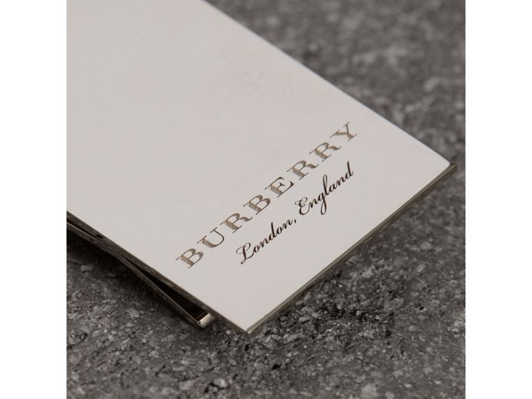 Engraved Brass Money Clip in Shiny Nickel - Men | Burberry - cell image 1