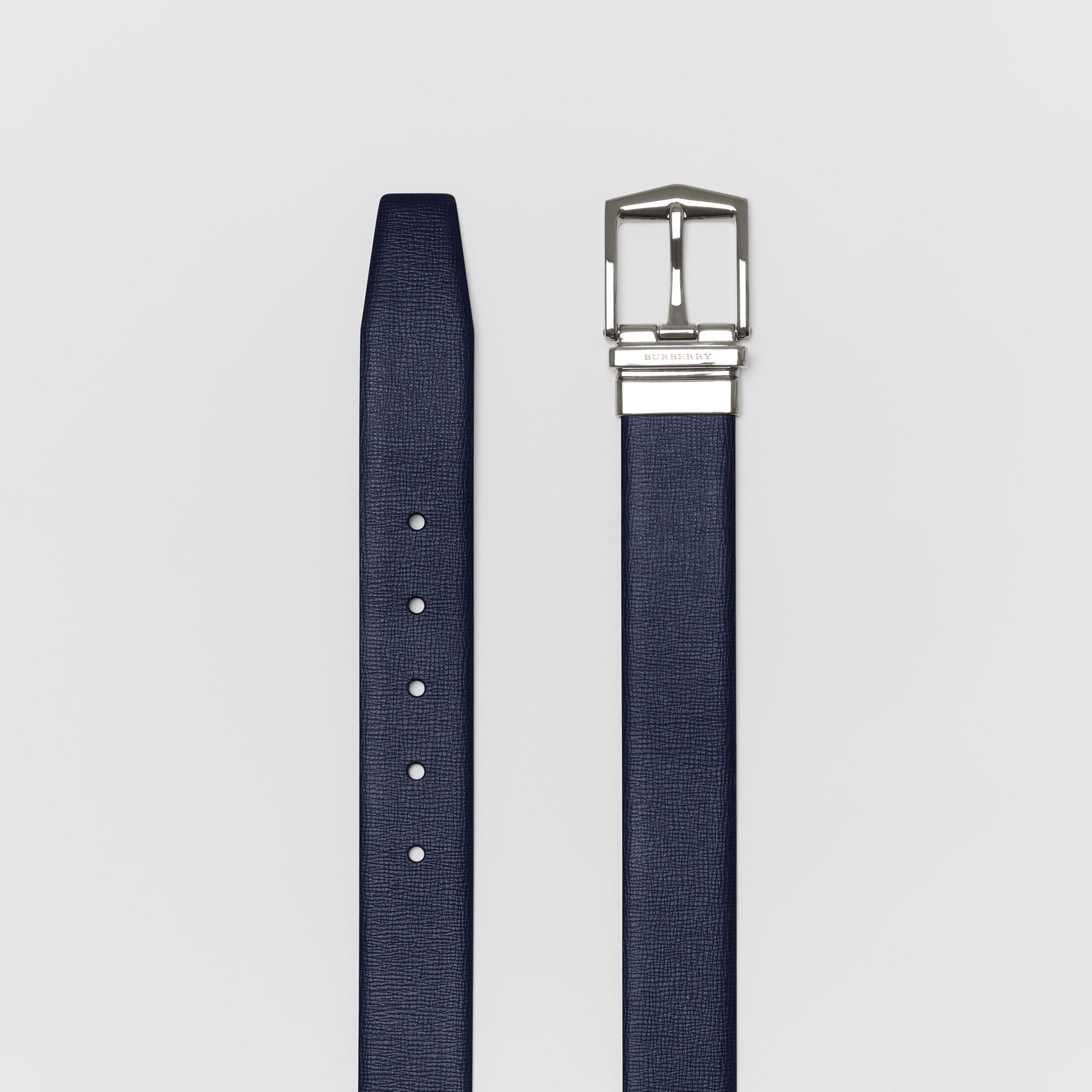 Reversible London Leather Belt in Dark Navy/black - Men | Burberry Canada - gallery image 5