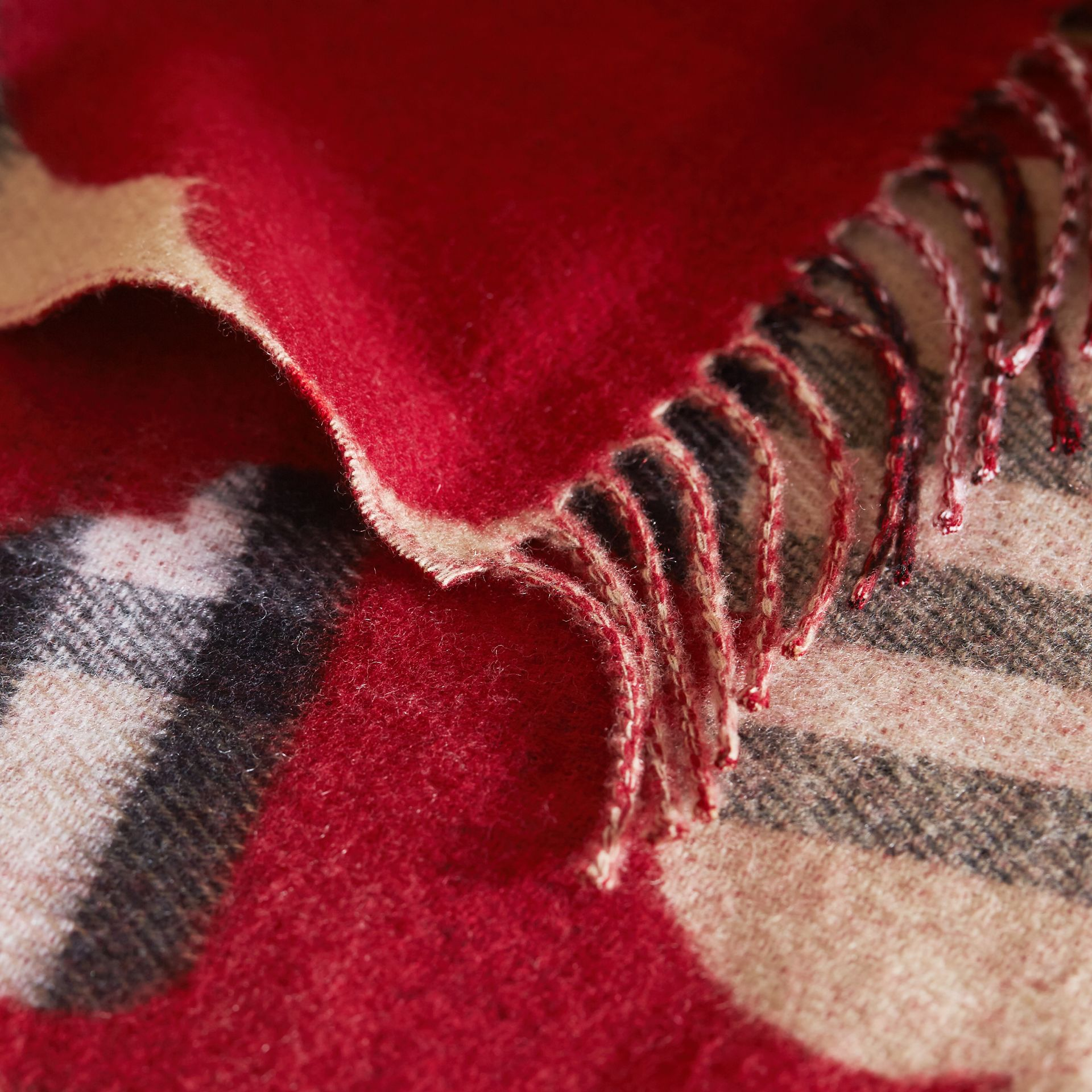 Reversible Weather Pattern Check Cashmere Mini Scarf in Parade Red | Burberry Canada - gallery image 1