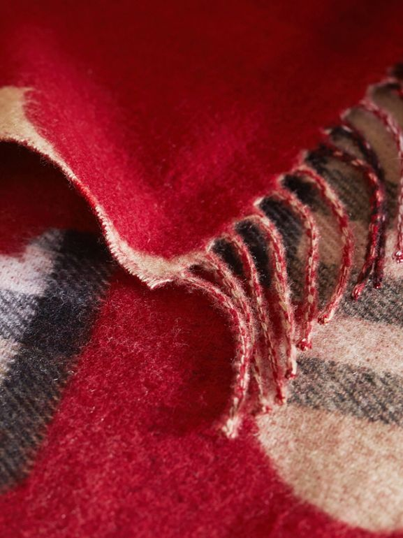 Reversible Weather Pattern Check Cashmere Mini Scarf in Parade Red | Burberry - cell image 1