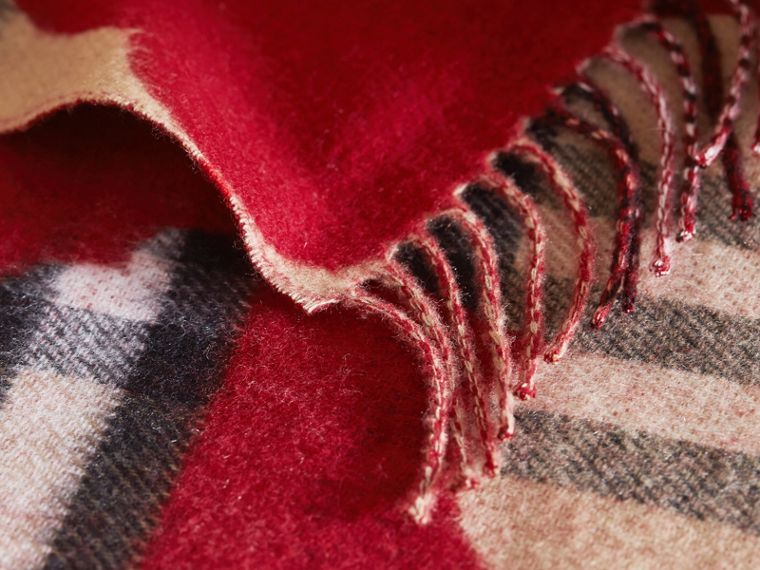 Reversible Weather Pattern Check Cashmere Mini Scarf in Parade Red | Burberry United Kingdom - cell image 1