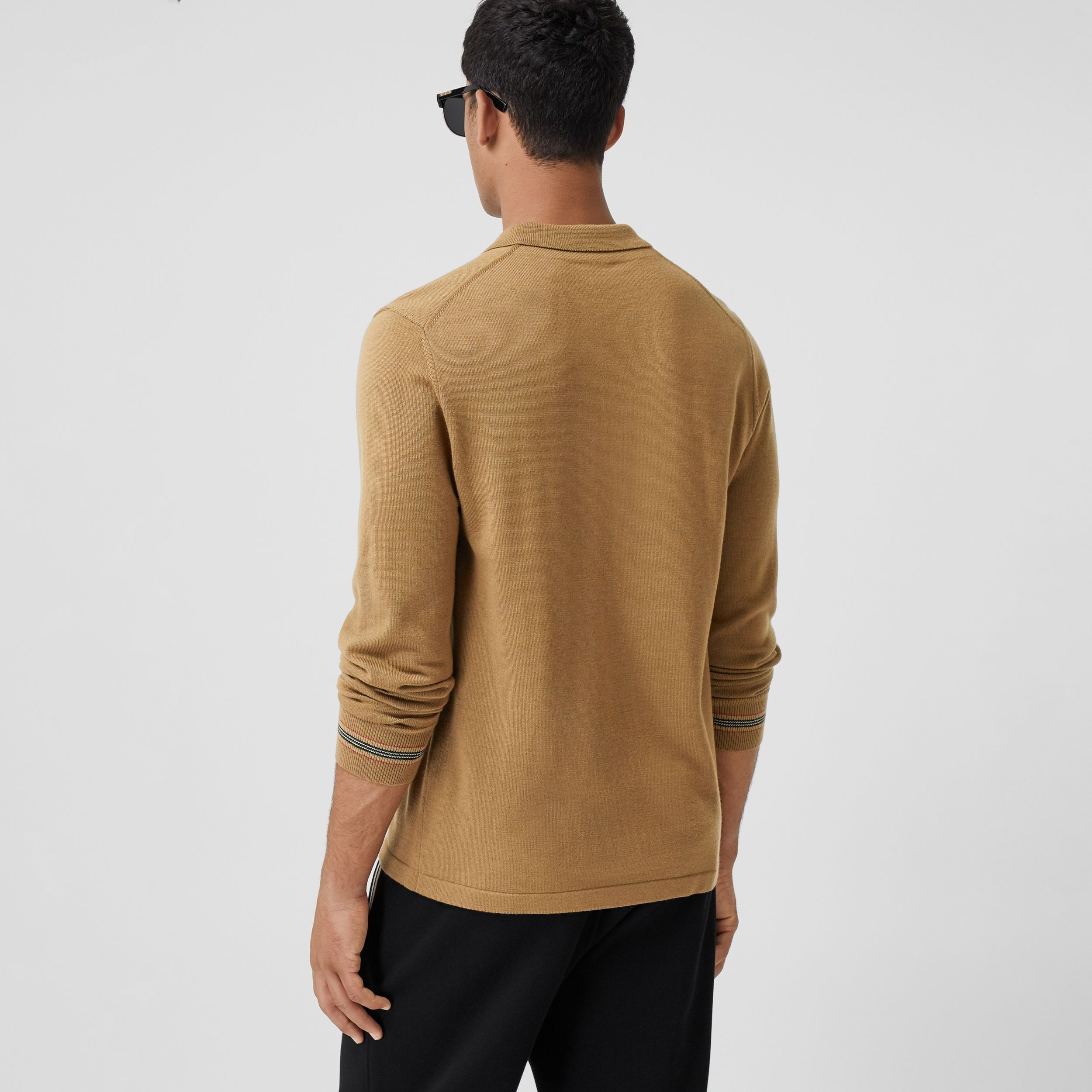 Long-sleeve Icon Stripe Detail Merino Wool Polo Shirt in Camel - Men | Burberry - 3