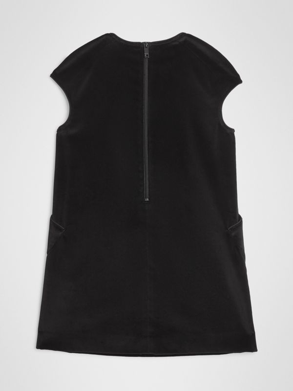Piping Detail Velvet Shift Dress in Black | Burberry - cell image 3