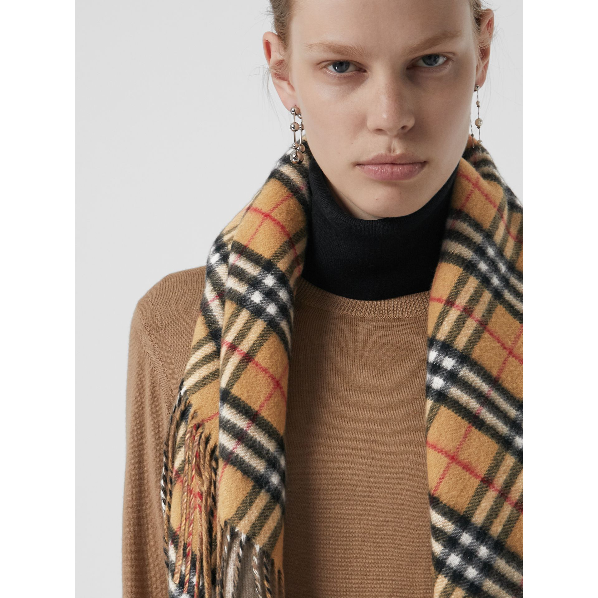 The Burberry Bandana in Vintage Check Cashmere in Sandstone | Burberry Australia - gallery image 6