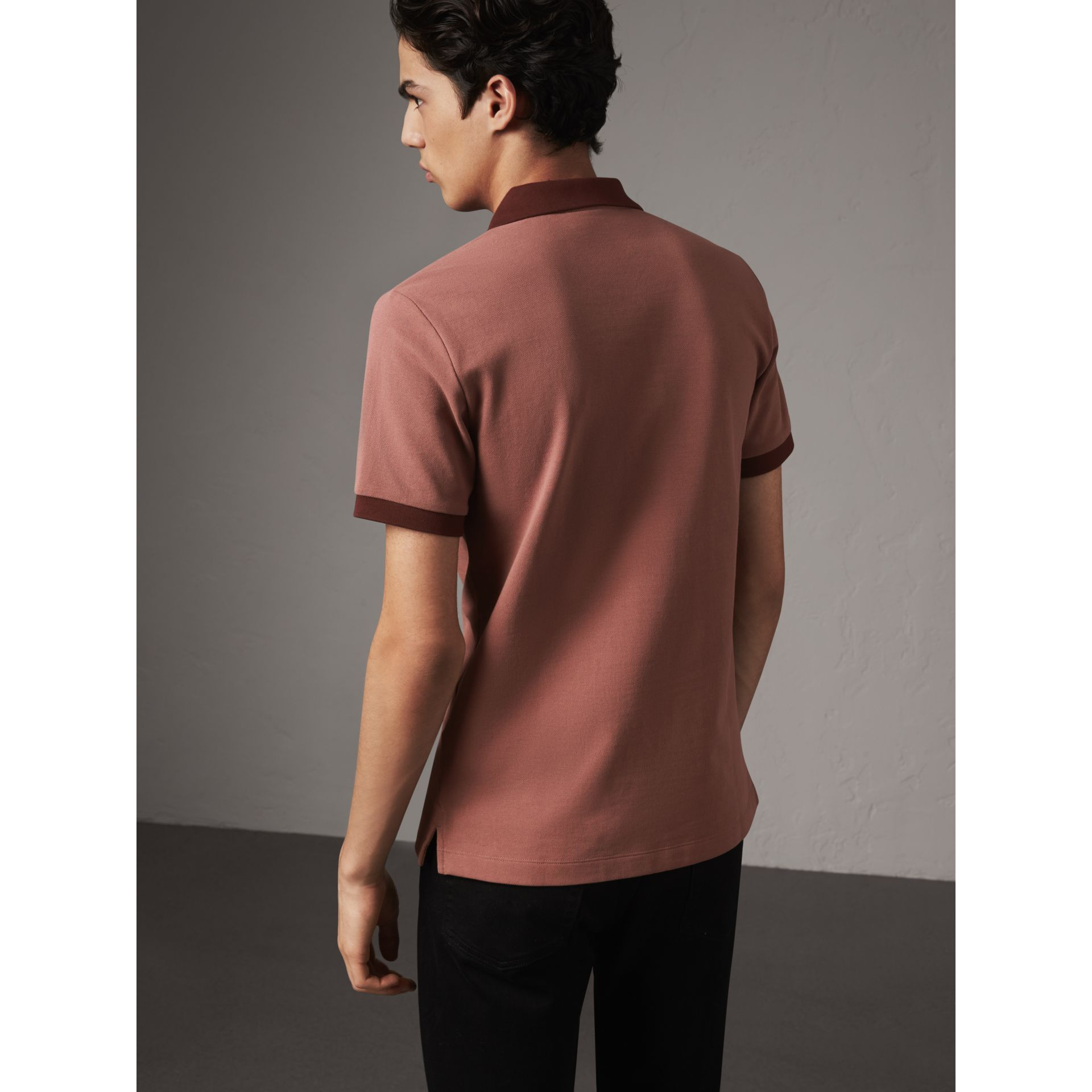 Cotton Piqué Polo Shirt in Rosewood - Men | Burberry - gallery image 3