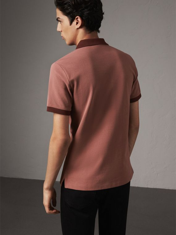 Cotton Piqué Polo Shirt in Rosewood - Men | Burberry - cell image 2