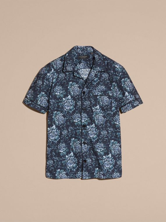 Ink blue Short-sleeved Peony Rose Print Pyjama-style Shirt - cell image 3